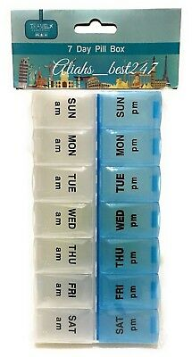 Weekly Pill Box Organiser Tablet Medicine Storage Dispenser 7 Day Daily AM PM.