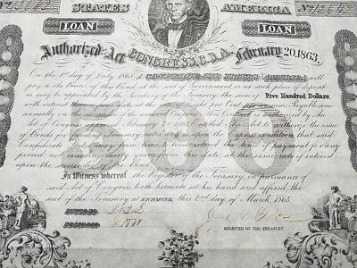 1868 Confederate $500 Loan Bond