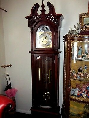 Large Carved Wood Winsor Chiming Grandfather Clock