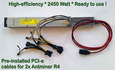 Power Supply for Two (x2) Antminer L3+ with Complete PCI-e Wiring Installed