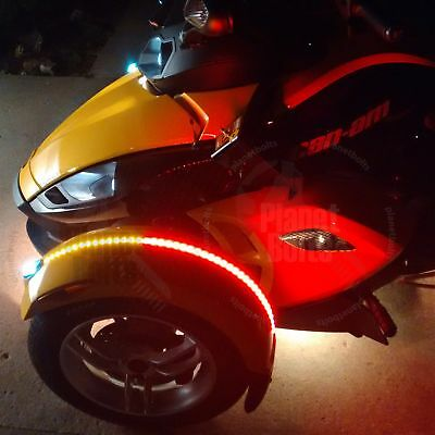 1x Red Amber Dual Color Fender Channel Flex LED Strips Can Am Spyder RS ST RT F3