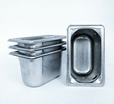 """4 - Vollrath Super Pan 3 - 1/9 Size x 4"""" Prep Steam Buffet Stainless -SHIPS FREE"""