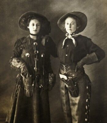 New Art Print Of c.1880 Photo Real Cowgirls With Pistols Wild West  8 1/2 X11