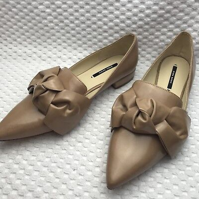 d036f99375 Zara Flats Shoes Sz 7.5 Camel Bow Detail Pointed Toe Slip On Casual Career  New