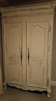 Large ARMOIRE FRENCH style Solid  mahogany  Painted Cream