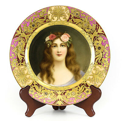 """Royal Vienna Hand painted Portrait Cabinet Plate """"Rose"""" signed C1890"""
