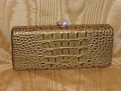 Embossed Subtle Gold Faux Leather Minaudiere With Elegant Crystal Clip, New !