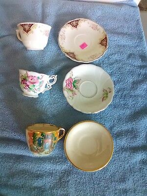 3 Small Cups and Saucers - Japan Pansies, Biltmore Estate, and Floral