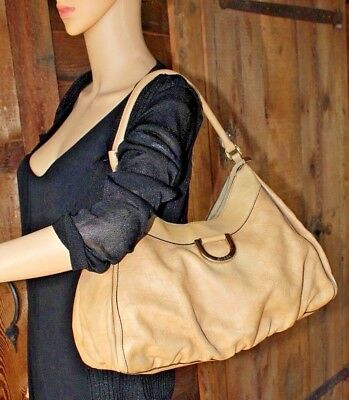 3482c71c6741 GUCCI~GUCCISSIMA Leather Camel Tan Brown Signature GG Shoulder Bag Pleated  Hobo