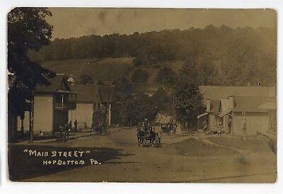 RPPC Main Street Stores HOP BOTTOM PA Susquehanna County Real Photo Postcard