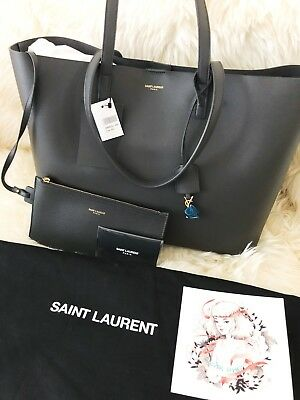 28b5488aee BNWT NEW YSL Saint Laurent Large Shopping East West Dark Gray Tote Bag,  $995!