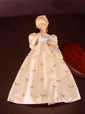 "Vtg Bing & Grondahl B & G 14"" Figurine Girl With Baby Doll Cloth Dress & Stand"