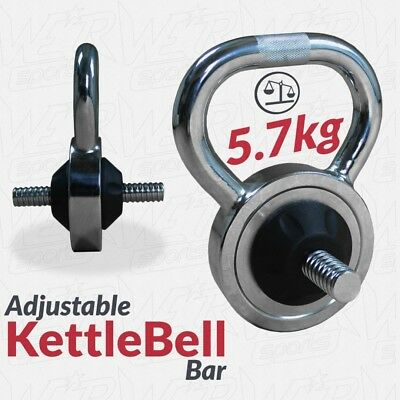 Chrome Steel Adjustable Kettlebell Home Strength Training Weight Plates Bar