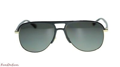 c1843a729602 NEW Gucci Men Sunglasses GG0292S 002 Black Grey Polarized Lens Pilot 60mm