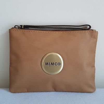 FREE POST MIMCO LOVELY MEDIUM POUCH HONEY BROWN Sheepskin LEATHER RRP99.95