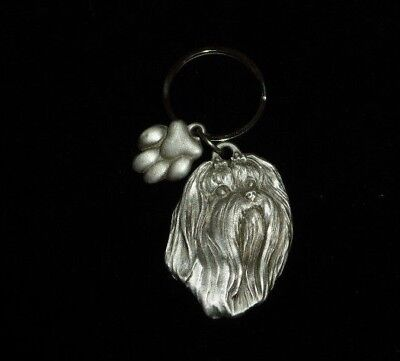 Maltese Fine Pewter Sturdy Key Ring With Paw Print Charm. Made In Usa By Krm