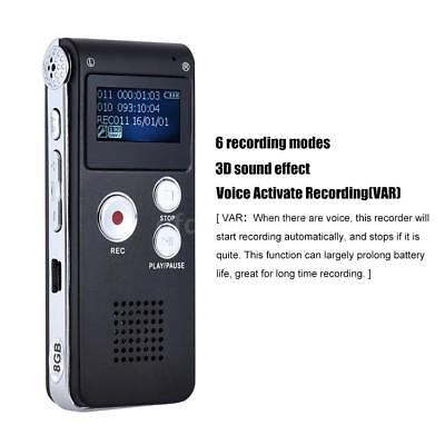 Voice Activated Mini 8GB Digital Sound Audio Recorder Dictaphone MP3 Player-USA