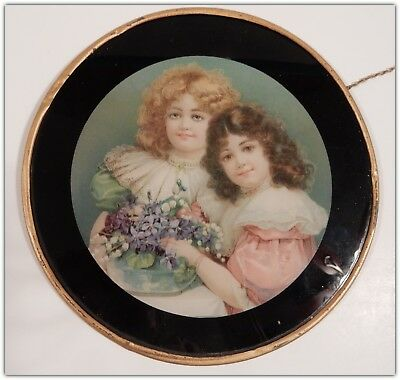Charming Antique 19th Century Victorian 1880s/90s Flue Cover Little Girls   B