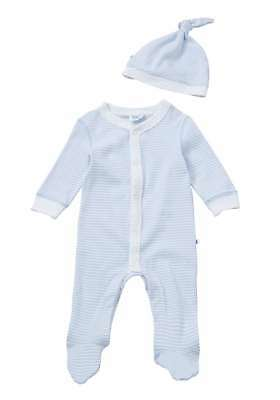 BNWT, 2 Pce, Baby, All-In-One, Sleepsuit, with Hat, Blue,White, Size 0, 6-9 Mths