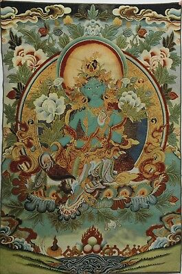 "36"" Tibetan Buddhism Religion Green Tara Buddha Silk Embroidery Thangka Painting"
