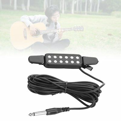 12 Hole Clip On Sound Pickup Microphone Amplifier Speaker Guitar Transducer ~L