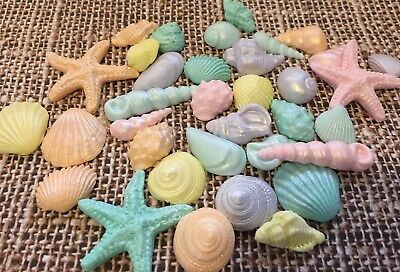 Sea Shells  Starfish Edible Pastel Shimmer Mix party Cake/Cupcake Toppers 20x