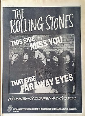 The Rolling Stones - Miss You 1978 Record Mirror Full-Page Double-Sided Advert