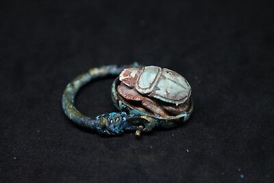 Antique Egyptian Galss stone faience ring copper