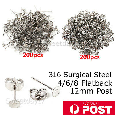 200PCS Surgical Steel Earring Backs Stud Posts Sterling Silver Pads 4mm/6mm/8mm