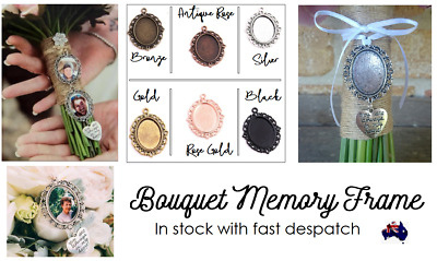 Bouquet Memory Frame Charm Photo Bride Wedding Flower Silver Gold Oval AUS SELER
