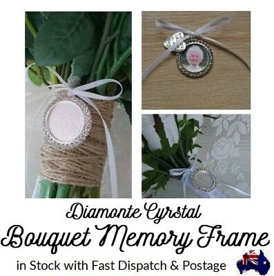 Bouquet Memory Frame Charm Photo Bride Wedding Flower Silver Round Crystal AU