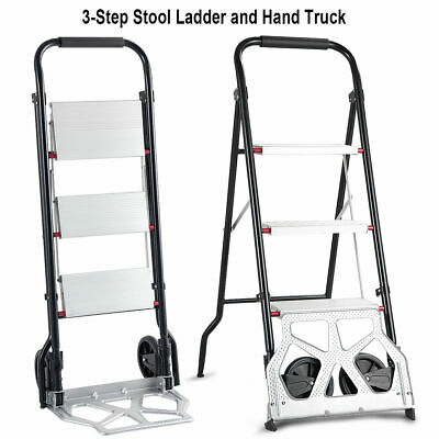 2-in-1 Convertible 3-Step Ladder Hand Truck Trolley Cart Folding w/ Two Wheels