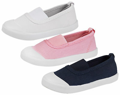 Girls Slip On Canvas Pumps Kids Flat Summer Plimsolls Trainers Sports Shoes Size