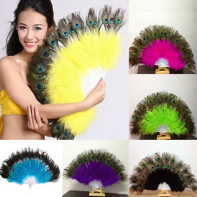 Chinese Peacock Eye Plumage Feather Folding Belly Dance Party Hand Fan Prop