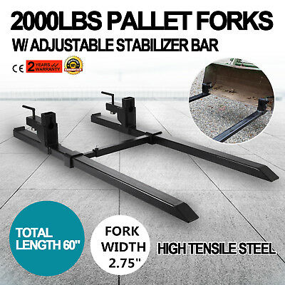 "43"" Clamp on Pallet Forks w/ Stabilizer Bar 2000lb Heavy duty HD Chain holes"