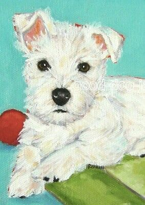 """West Highland Terrier ACEO WESTIE PRINT Painting """"BREAK TIME"""" Dog Art - RANDALL"""