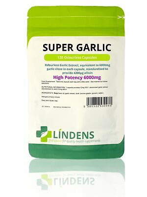 Lindens Garlic 6000mg Odourless Capsules Boosts Circulation Lower Blood Pressure