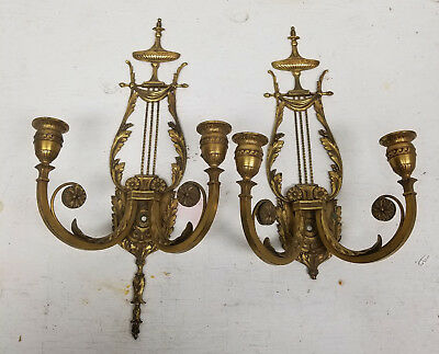 Antique Pair Bronze Federal American Style Wall Sconces Damaged Lamps Lighting