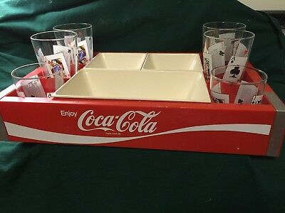 Vintage COCA COLA (COKE) Snack Tray and Glasses Probably 1960-1970