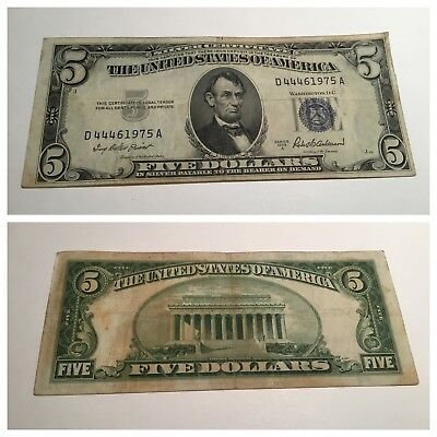 VINTAGE SILVER CERTIFICATE $5 1953-A FIVE DOLLARS LINCOLN BLUE SEAL ...