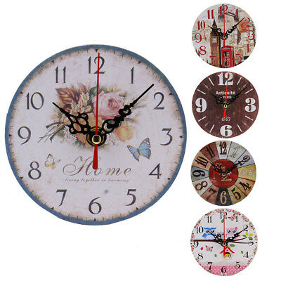 Non-Ticking Silent Vintage Antique Wood Wall Clock For Home Kitchen Office DIY