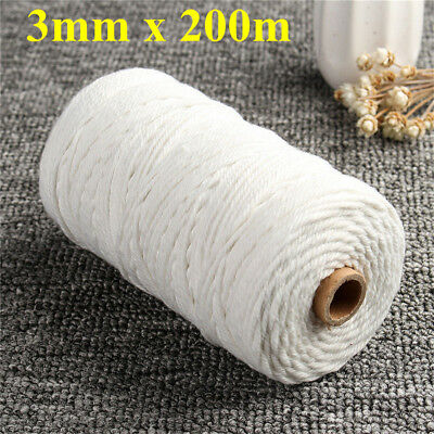 200m 100% Natural Cotton String Twisted Cord Beige Craft Macrame Artisan 3mm vv