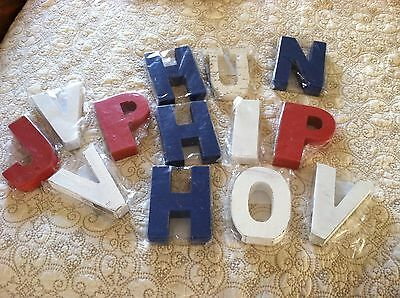 Lot Of 13 Various 45 Inch Painted Wooden Letters White Blue Red And Ivory Print