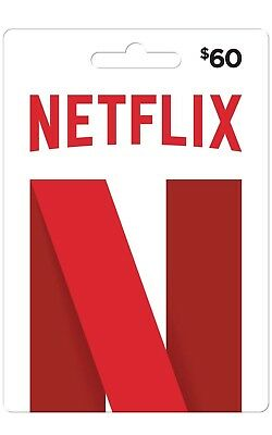 NETFLIX GIFT CARD $60 USA (FREE e delivery) WORKS Worldwide/ WIDER Movie  Variety