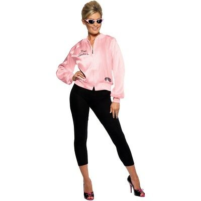 OFFICIAL Grease Pink Ladies Jacket Lady Licensed Womens Fancy Dress Costume Hen