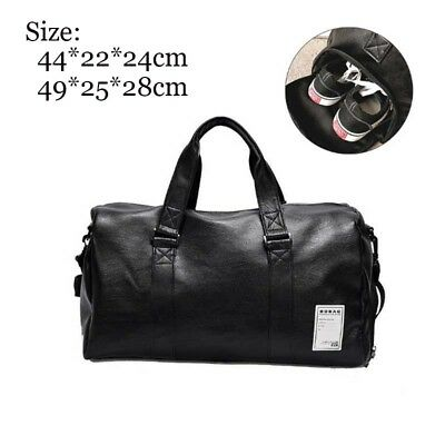 Large Leather Sport Gym Bag Men and Women's Fitness Training Travel Shoulder Bag