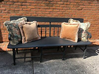 Antique deacons bench early 1900's arrow back carved seat