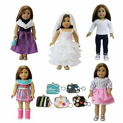 """6 PCS American Girl Doll Clothes and Accessories Set   Dress  Handbag for 18"""""""