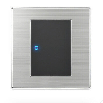 Brushed Stainless Steel LED Wall Light Switch 1 way 1 Gang Modern Silver Black