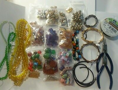 Large Lot Of Mixed Assorted Beads-Findings-Tools Jewelry Making Supplies
